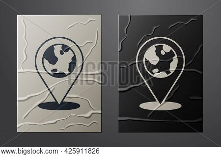 White Location On The Globe Icon Isolated On Crumpled Paper Background. World Or Earth Sign. Paper A