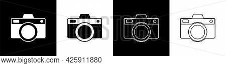 Set Photo Camera Icon Isolated On Black And White Background. Foto Camera Icon. Vector