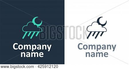 Logotype Cloud With Rain And Moon Icon Isolated On White Background. Rain Cloud Precipitation With R