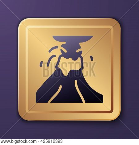 Purple Volcano Eruption With Lava Icon Isolated On Purple Background. Gold Square Button. Vector