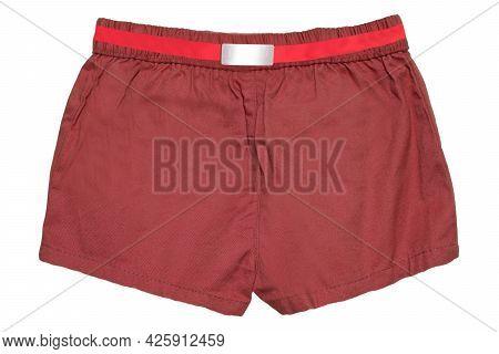 Summer Shorts Isolated. Close-up Of Stylish Fashionable Reddish Brown Short Shorts For The Little Gi