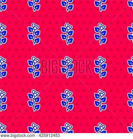 Blue Ivy Branch Icon Isolated Seamless Pattern On Red Background. Branch With Leaves. Vector