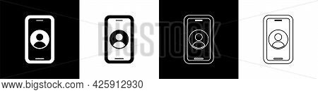 Set Telephone 24 Hours Support Icon Isolated On Black And White Background. All-day Customer Support