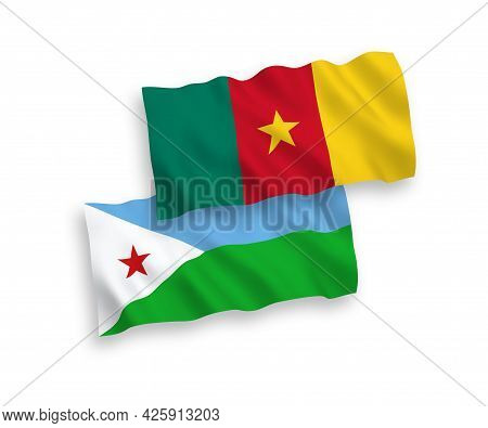 National Fabric Wave Flags Of Republic Of Djibouti And Cameroon Isolated On White Background. 1 To 2