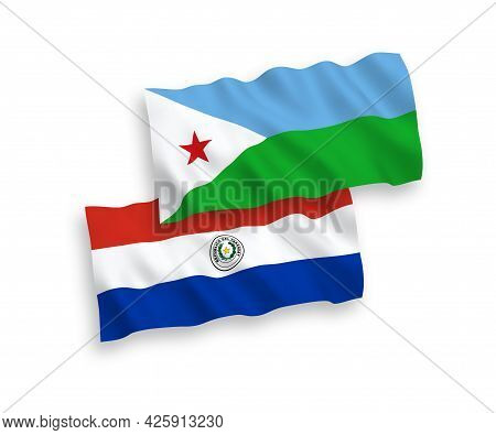 National Fabric Wave Flags Of Republic Of Djibouti And Paraguay Isolated On White Background. 1 To 2