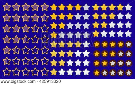 Stars Yellow And Gray Isolated On White Background. Rating For Sites, Hotels, Travel Packages, Onlin