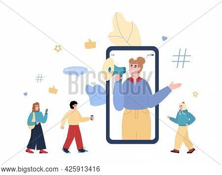 Woman Influencer On Mobile Phone Screen Shout Out In Megaphone To Followers.