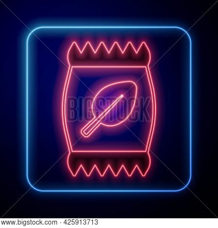 Glowing Neon Fertilizer Bag Icon Isolated On Black Background. Vector