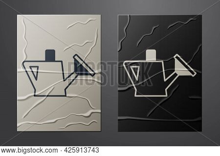 White Watering Can Icon Isolated On Crumpled Paper Background. Irrigation Symbol. Paper Art Style. V