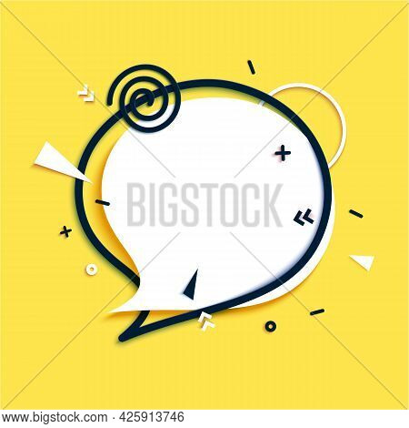 White Speech Bubble And Black Frame In Paper Cut Style. Cut Out Banner With Geometric Shapes. Colorf