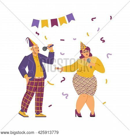 Karaoke Party Performance Or Competition, Flat Vector Illustration Isolated.