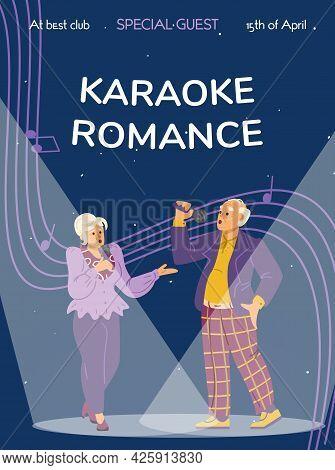 Banner For Karaoke Club With Singing Elderly Couple, Flat Vector Illustration.