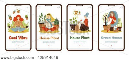 Set Of Onboarding Page Templates With Women At Home Among House Plants. Green House And Home Housepl