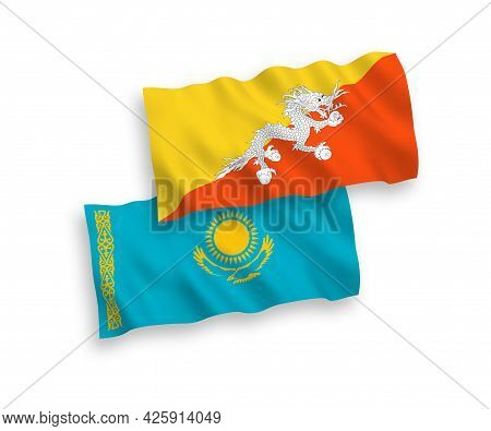 National Fabric Wave Flags Of Kazakhstan And Kingdom Of Bhutan Isolated On White Background. 1 To 2