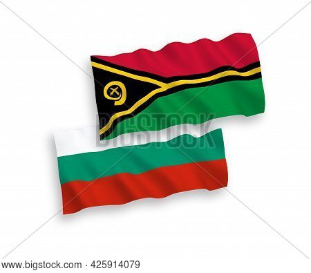 National Fabric Wave Flags Of Bulgaria And Republic Of Vanuatu Isolated On White Background. 1 To 2