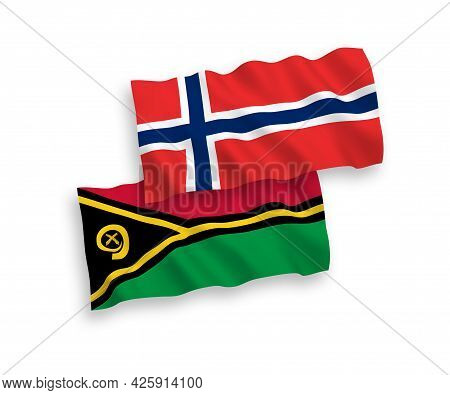 National Fabric Wave Flags Of Norway And Republic Of Vanuatu Isolated On White Background. 1 To 2 Pr