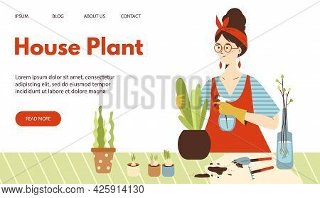 Urban Jungle Web Banner With Woman Taking Care Of Houseplants, Flat Vector Illustration. Website Pag