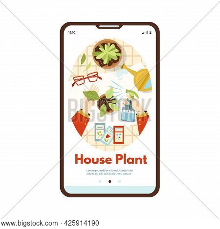 Onboarding Mobile Page On Topic Of Urban Jungle Concept, Flat Vector Illustration. Planting And Gard