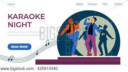Karaoke Night Website Banner Or Landing Page Template Flat Vector Illustration.
