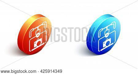 Isometric Gimbal Stabilizer With Dslr Camera Icon Isolated On White Background. Orange And Blue Circ