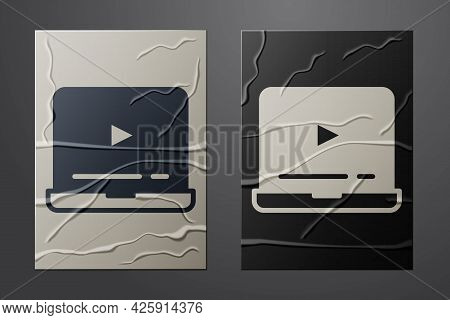 White Online Play Video Icon Isolated On Crumpled Paper Background. Laptop And Film Strip With Play