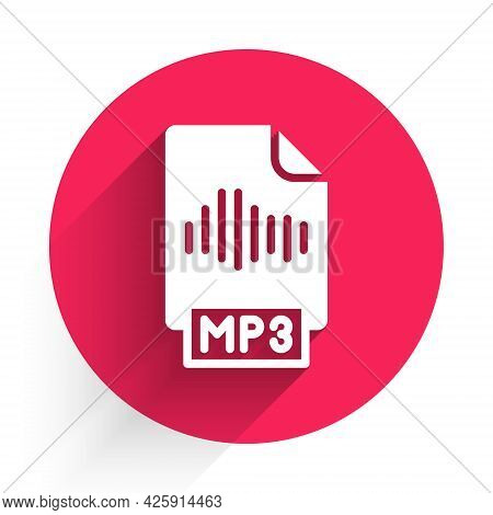White Mp3 File Document. Download Mp3 Button Icon Isolated With Long Shadow. Mp3 Music Format Sign.
