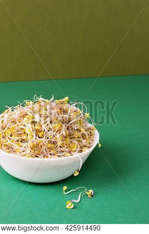 Bowl With Radish Sprouts On Modern Green Background. Sprouted Seeds. Healthy Eating, Detoxification.