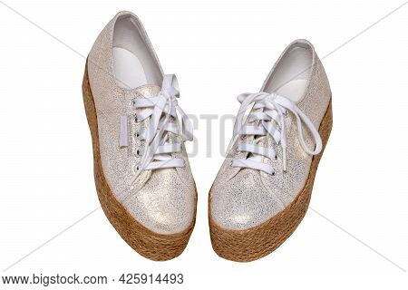 White Shoes Isolated. Closeup Of A Pair Brown White Elegant Female Leather High-heeled Shoes Isolate