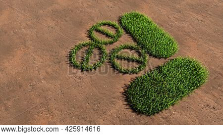Concept conceptual green summer lawn grass symbol shape on brown soil or earth background, medicine pill treatment image. A 3d illustration metaphor for medicine, healthcare, pharmaceutical industry