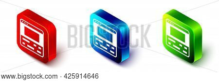 Isometric Video Recorder Or Editor Software On Laptop Icon Isolated On White Background. Video Editi