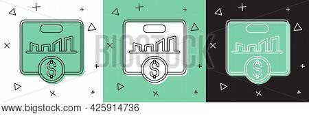 Set Kpi - Key Performance Indicator Icon Isolated On White And Green, Black Background. Vector