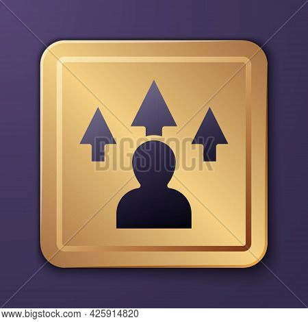 Purple Web Design And Front End Development Icon Isolated On Purple Background. Gold Square Button.