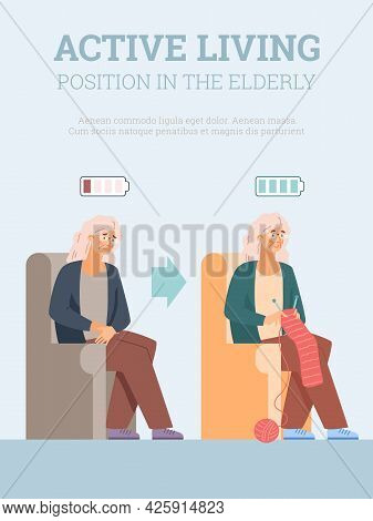 Active Living In Elderly Age Banner With Old Lady, Flat Vector Illustration.