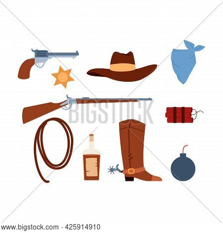 Cowboy Outfit Details And Weapon Collection, Flat Vector Illustration Isolated.