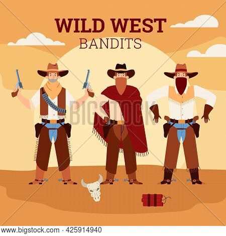 Wild West Bandits Banner With Men In Cowboy Costumes, Flat Vector Illustration.