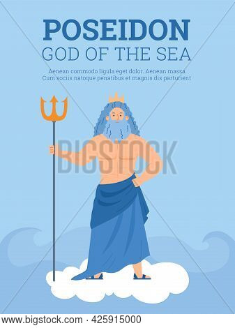 Banner Or Card With Sea God Poseidon Holding Trident, Flat Vector Illustration.
