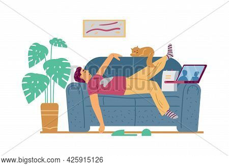Lazy Man Lying On Couch And Watching Movie, Flat Vector Illustration Isolated.