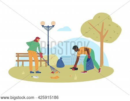 Volunteers Or Ecologists Collecting Garbage, Flat Vector Illustration Isolated.