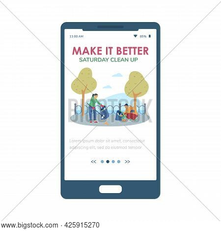 Saturday Clean Up Event Concept Of Onboarding Page, Flat Vector Illustration.