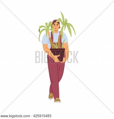 Moving Company Loader Carrying Flower Pot, Flat Vector Illustration Isolated.