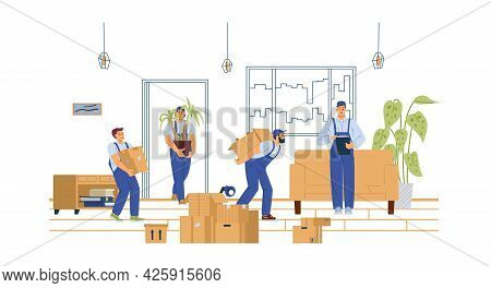 House Moving Service Loaders Carry Furniture, Flat Vector Illustration Isolated.
