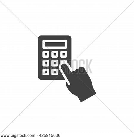 Hand Pressing Calculator Vector Icon. Filled Flat Sign For Mobile Concept And Web Design. Hand And C