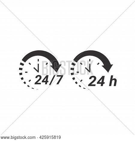 24 7 Non Stop Circle Loop Nonstop Icon Clock Arrow.eps