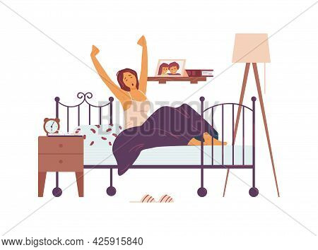 Woman Awaking In Her Bed At Morning, Flat Vector Illustration Isolated On White.