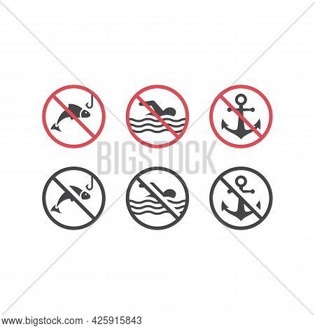 No Swimming, Fishing And Dock Red Prohibition Sign. Warning Icon Set With Fish, Swimming Man And Anc