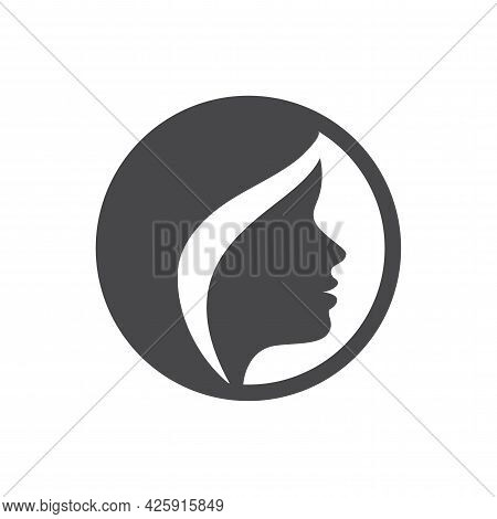 Pretty Woman Hairstyle Profile Vector Icon. Beautiful Girl Hair And Face Silhouette.