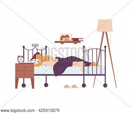 Woman Sleeping In Her Bed At Night, Flat Vector Illustration Isolated On White.