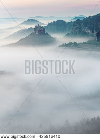 The Fairy Rock Of Winterstein, Also Called Hinteres Raubschloss Or Raubstein Sticking Out Of Morning