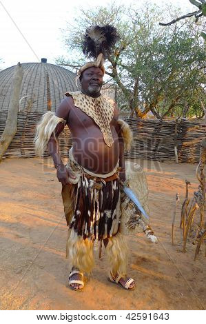 Zulu Chief with speer and shield  in Shakaland Zulu Village, South Africa