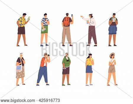 Set Of Different Tourists And Guide During Excursion. People Traveling And Sightseeing. Men And Wome